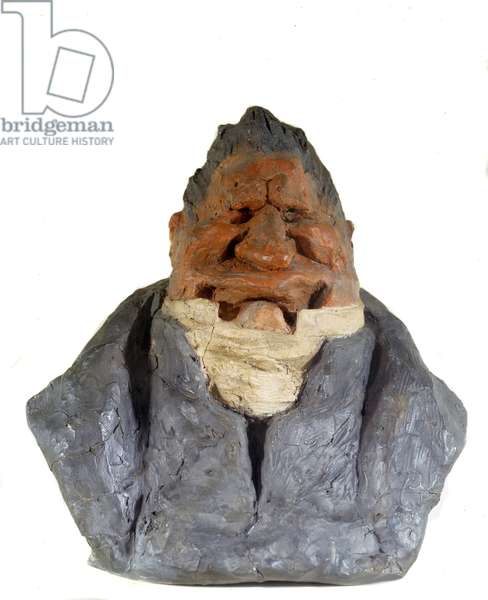 Coloured raw earth bust of the French cartoonist, lithographer, journalist and publisher Charles Philipon or the old laughter edente. Sculpture by Honore Daumier (1808-1879) 1831. Paris, Musee d'Orsay