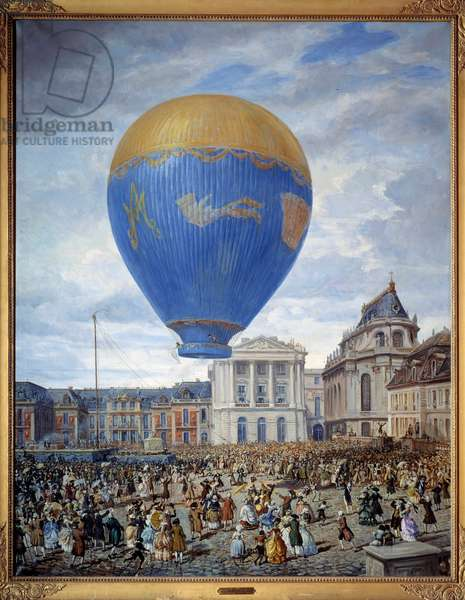 Ascent of the balloon Marie Antoinette to Versailles on June 23, 1784 Painting by Gustave Alaux (1887-1965) 20th century Riom, Musee Francisque Mandet