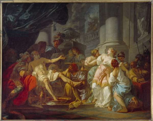 The death of Seneque (4 BC - 65 AD), Roman philosopher. In 65, he was compromised despite him in the Pison Conjuration and condemned to die. He kills himself by opening his veins at Neron's command. Painting by Jacques Louis David (1748-1825, 1773). Paris, Musee Du Peinture Palais.
