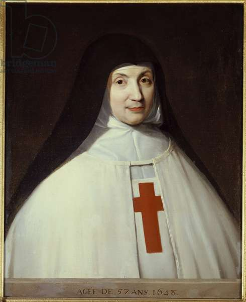 Portrait of Mother Angelique Arnauld, 1648: Jacqueline Marie Arnauld, known as Angelique Arnauld (1591-1661), abbess of Port Royal des champs (Port-Royal-des-Champs), figure of French Jansenism. Painting by Philippe de Champaigne (1602-1674) French of Flemish origin. Oil on canvas, Dim. 73x60 cm. Versailles, Musee national du Chateau.