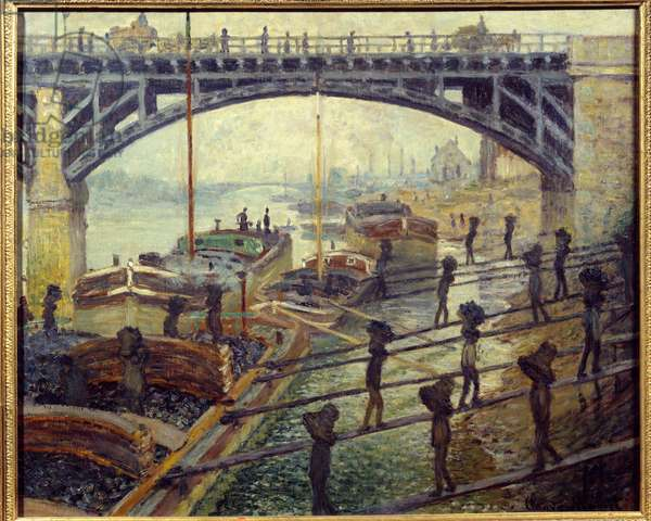 Debardeurs coal unloaders unloading goods from the cottages on the banks of the Seine. Painting by Claude Monet (1840-1926) 1875 Sun. 0,53x0,64 m Paris, musee d'Orsay