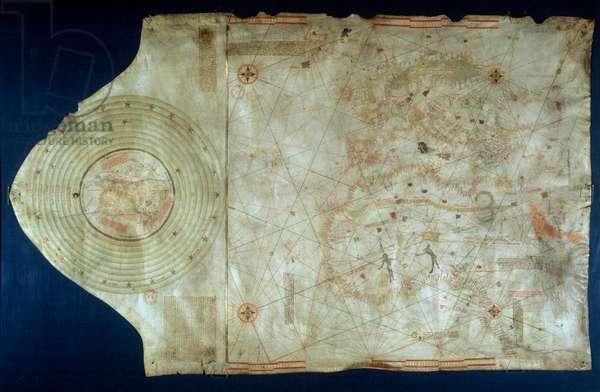 Marine chart of Juan de la Cosa (1460-1510), cartographer companion of navigator Christopher Columbus (1451-1506), 1492 Dim. 0,7x 1,1 m Paris, B.N.