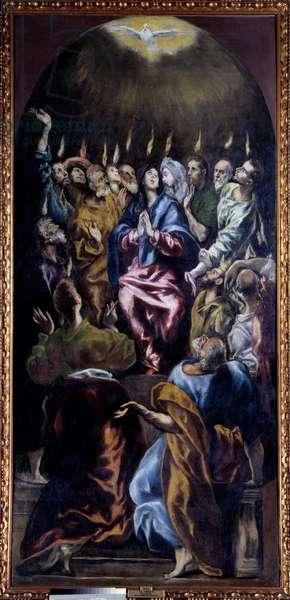 The Pentecost Painting by Domenikos Theotokopoulos dit El Greco (1541-1614) 17th century Sun. 2,75x1,27 m Madrid, Prado Museum - Pentecost. Painting by Domenikos Theotokopoulos known as El Greco (1541-1614), 17th century. 2.75 x 1.27 m. Prado Museum, Madrid