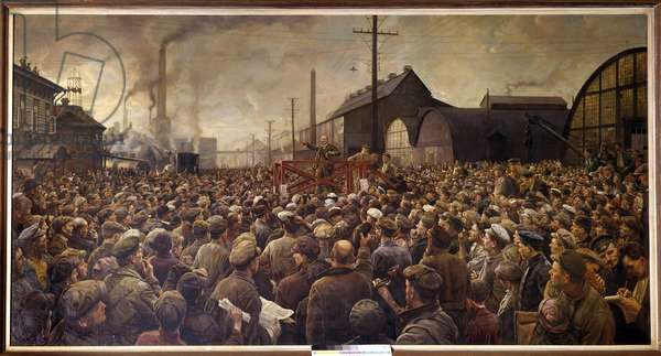 """Russian Revolution of 1917: """"Lenin speaking to the workers of the Putilov factory in Petrograd, 1917"""" Painting by Isaak Brodsky (Brodsky) (1883-1939). 1917. Prague, National Gallery - Russian Revolution of 1917: """""""" Lenin speaking to the workers of the Putilov factory, in Petrograd, 1917"""". Painting by Isaak Brodsky (1883-1939). National Gallery, Prague, Czech Republic"""
