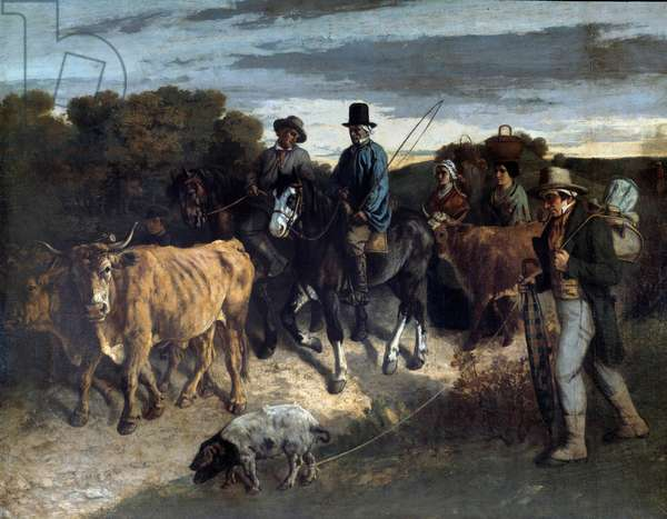 Farmers of Flagey returning from the exhibition Painting by Gustave Courbet (1819-1877). 19th century. Besancon, Museum of Fine Arts