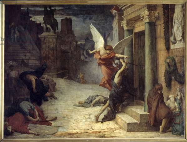 The plague in Rome Allegorical representation of the flower breaking through the doors. Painting by Jules Elie Delaunay (1828-1891) 1869. Dim. 1,31 x 1,76 m Paris, musee d'Orsay - The Plague in Rome. Allegorical representation of the scourge breaking down the doors. Painting by Jules Elie Delaunay (1828-1891), 1869. 1.31 x 1.76 m. Orsay Museum, Paris