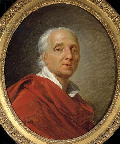 """Siecle des Lumieres: """""""" Portrait of Denis Diderot (1713-1784), writer and philosopher"""""""" Painting by Jean Simon Berthelemy (1743-1811) 1784 Dim. 0,55 x 0,46 m. Paris, Musee Carnavalet"""