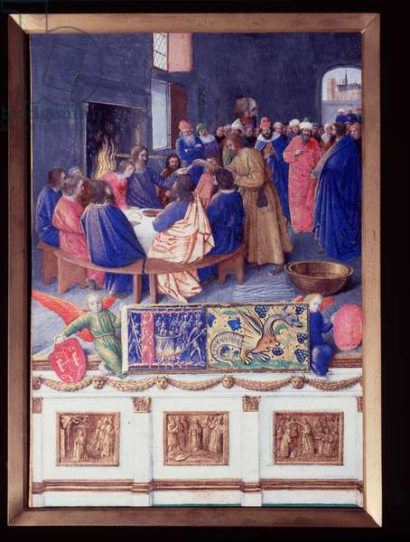"""Saint John has the Cene. Miniature taken from """""""" The Book of Hours of Etienne Chevalier"""""""" by Jean Fouquet (1420-1477/1481), 15th century. Chantilly, Conde Museum"""