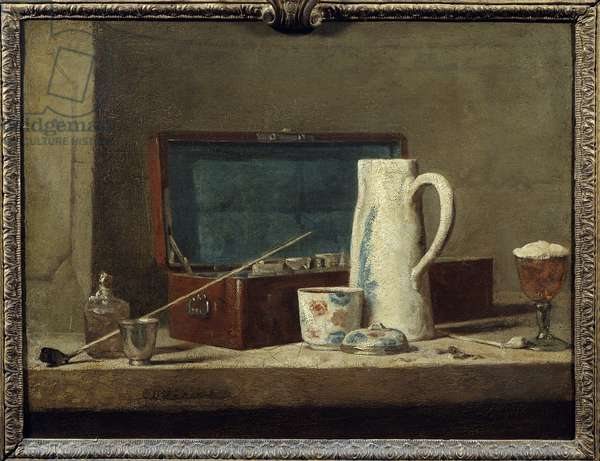Pipes and vase for drinking or smoking Painting by Jean Baptiste Simeon Chardin (1699-1779) 18th century Sun. 0,32 x 0,42 m. Paris. Louvre Museum