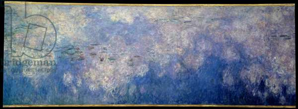 The nympheas; the clouds. Central part of the triptych painted in Giverny. Painting by Claude Monet (1840-1926), 1914-1926. Oil on wood. Dim: 2 x 4,25m. Paris, Musee De l'Orangerie
