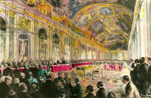 The Peace Congress in the Ice Gallery in Versailles on 28/06/1919: President of the French Council Georges Clemenceau (1841-1929), opens the session. This congress will culminate in the Treaty of Versailles. Illustration of 1919. Private collection