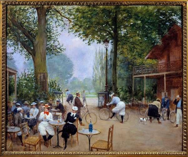 Le chalet du cycle au bois de Boulogne La Belle Epoque. Painting by Jean Beraud (1849-1935) 1900 - Paris, Musee Carnavalet