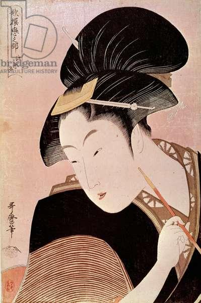Portrait of Woman Japanese print by Utamaro Kitagawa (1753-1806), 18th century. Paris, Guimet Museum, Asian Arts Museum
