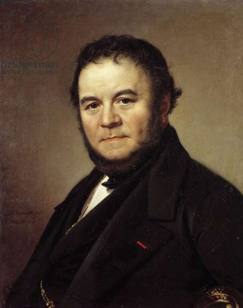 Portrait of Henri Beyle dit Stendhal (1783 - 1842), French writer. Painting by Johan Olaf Sodermark (1790 - 1848), Swedish school, 1840. Oil on canvas. Dim: 0,62 x 0,50m.