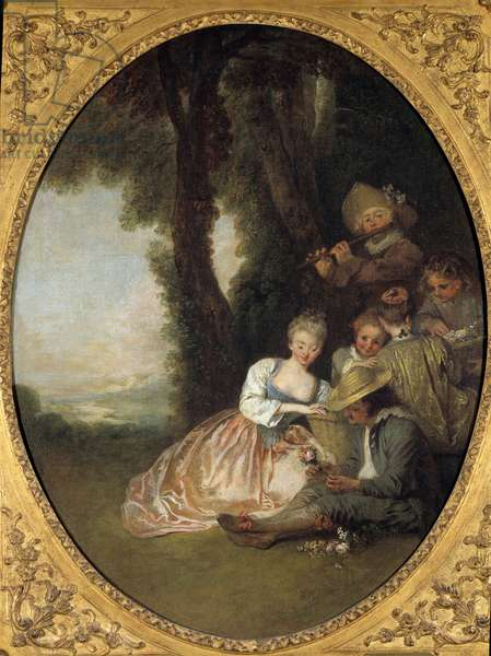 """Champetre concert or """""""" The expected declaration"""""""". Young couple in love blush. Rococo style painting by Jean Antoine Watteau (1684-1721), 1715. Dim. 63 cm x 49 cm. Museum of Fine Arts of Angers"""