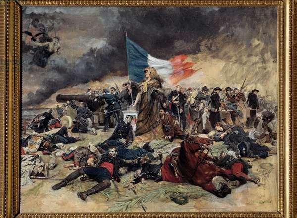 Le Siege de Paris (1870-1871), allegory Paris besieged by the Prussians. Painting by Ernest Meissonier (1815-1891). 1871-1891. Dim 0,53 x 0,70 m Paris, musee d'Orsay