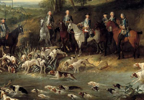 King Louis XV hunting deer in the forest of Saint Germain in 1730 Detail. Painting by Jean Baptiste Oudry (1686-1755) 1730 Toulouse, Musee des Augustins