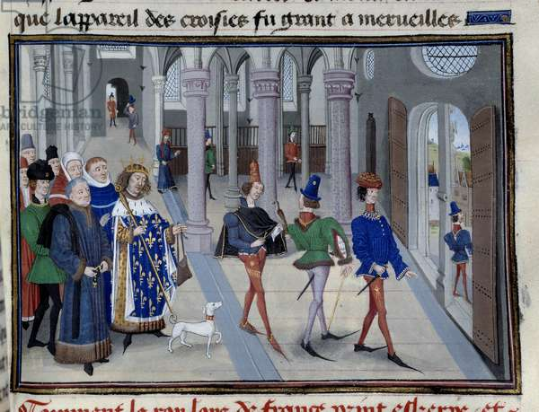 """The King Saint Louis (Louis IX (1214-1270) appreting to leave overseas"""""""" Miniature from """"Les Grandes Chronicles"""""""" by Jean Fouquet (1420-1481), Paris, Library of the Arsenal"""