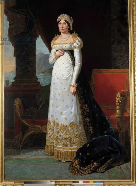 "Portrait en pied de Laetitia Bonaparte (Letizia Maria Ramolino) (1750-1836), Madame Mere Painting by Robert Lefevre (1755-1830) 1813. Dim. 2,35 x 1,50 m. Versailles, Musee du Chateau - Full-length portrait of Marie Laetitia Bonaparte (1750-1836) born Ramolino, """" Madame Mere"""". Painting by Robert Lefevre (1755-1830) 1813. 2.35 x 1.50 m."