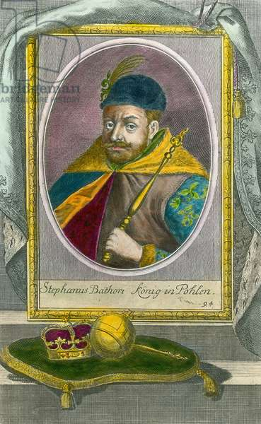 Portrait of Stephen Bathory, King of Poland (1533-1586). Engraving of the 16th century. Private collection.