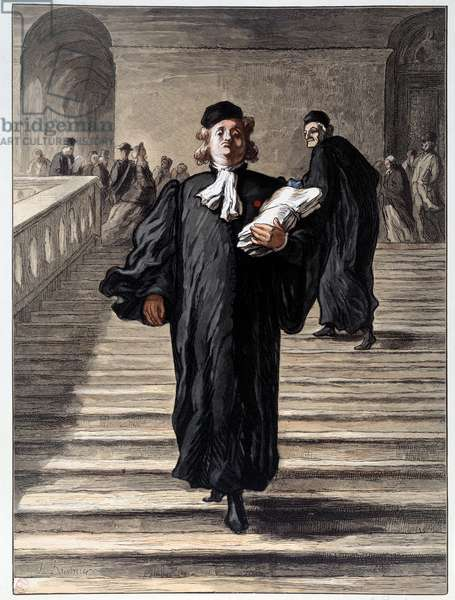 A lawyer in a dress at the courthouse. Lithograph by Honore Daumier (1808-1879) 19th century Paris, Musee Carnavalet