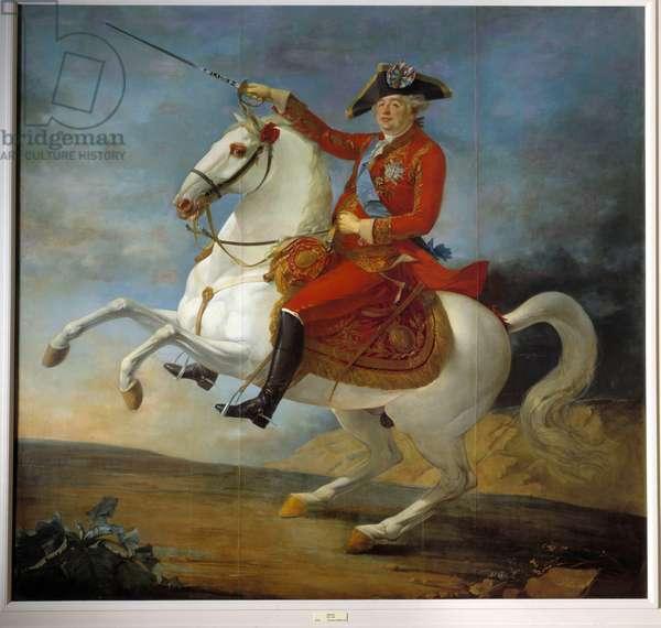 Equestrian portrait of Louis XVI (1754 - 1793). Painting by Jean Francois Carteaux (1751-1813), 1791. Oil on canvas. Dim: 3,06 x 3,22m.