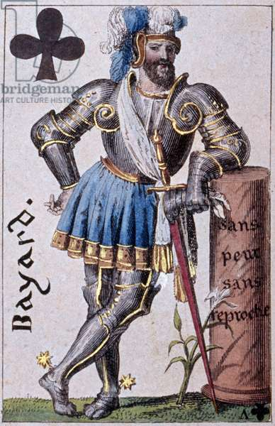 Representation of the Knight Pierre Terrail, Lord of Bayard (1476-1524). Detail of a play card made by Gustave Houbigant (1789-1862) 19th century Paris B.N.