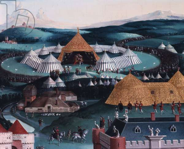Interview of Francois I and Henry VIII at the Golden Sheet Camp June 7, 1520 Detail representing the military camp. Painting by Friedrich Bouterwerk (Bouterwek) (1806-1867). 1845. Dim. 3.4 x 1.7. Versailles, Castles of Versailles and Trianon
