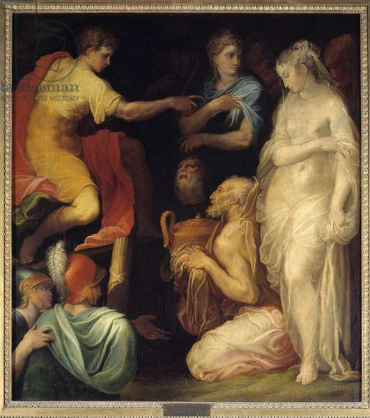 Scipio's continence. After his victory in the Punic War Scipio the African (235-183 BC), the young captive (daughter of Celtibere King Indibilis) to whom Allucius (or Allucius), Prince of the Celtiberes was engaged. Painting by Nicolo Dell Abate (1509-1571), 16th century. Oil on canvas. Dim: 1,27x1,15m.