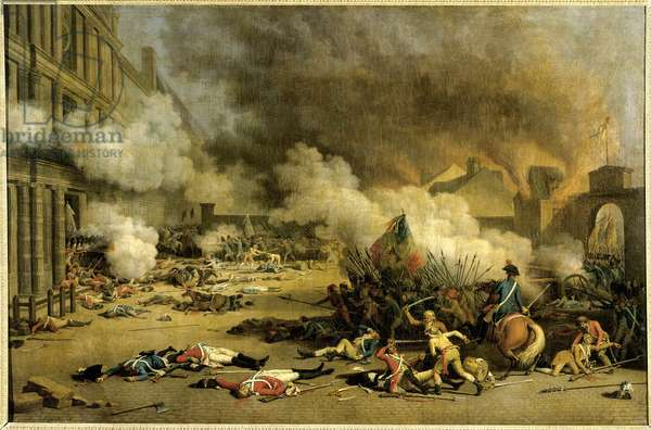Capture of the Tuileries: Attack of the Palais des Tuileries on August 10, 1792, fighting between the Swiss and the sections in the courtyard of the carousel. Painting by Jacques Bertaux (1745-1818), 18th century. Oil on canvas. Dim: 1,24 x 1,92m. .