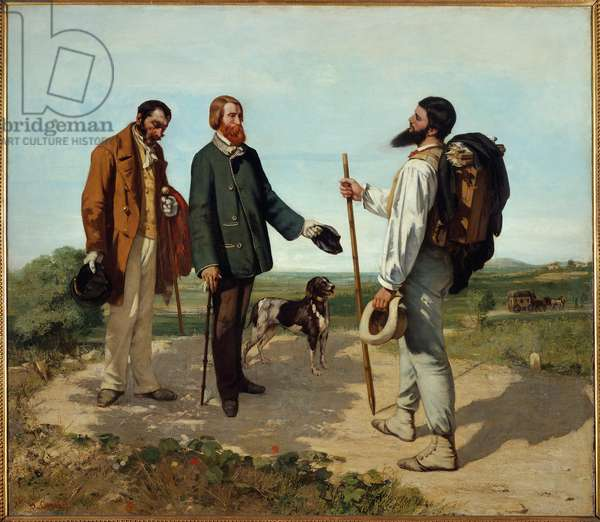 "The meeting or ""Hello Mr. Courbet"". Meeting between Alfred Bruyas and Gustave Courbet. Painting by Gustave Courbet (1819-1877), 1854. Fabre Museum, Montpellier."