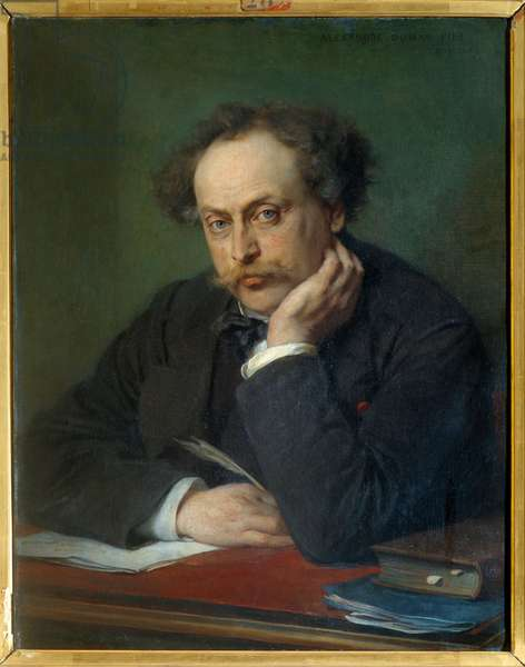 Portrait of Alexandre Dumas Jr. (1824-1895) Painting by Trianig (19th century) Villers Cotterets. Musee Alexandre Dumas - Portrait of Alexandre Dumas, son (1824-1895). Painting by Trianig (19th century). Alexandre Dumas Museum, Villers Cotterets, France
