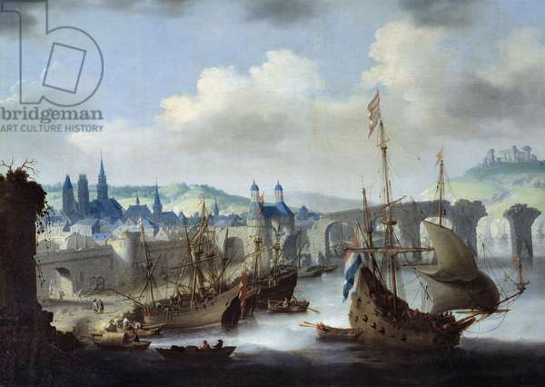 View of the city of Rouen The ships are moored on the banks of the Seine. Painting by Claude de Jongh (ca. 1600-1663) 17th century Rouen, Musee des Beaux Arts