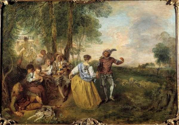 The shepherds. Painting by Jean Antoine Watteau (1684-1721), 18th century. Berlin, Chateau De Charlottenbourg