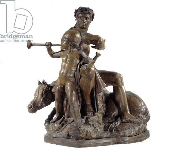 War Allegory as a warrior and a child playing the trumpet. Painted plaster sculpture by Antoine Louis Barye (1795-1875) 1855 Paris, Musee d'Orsay