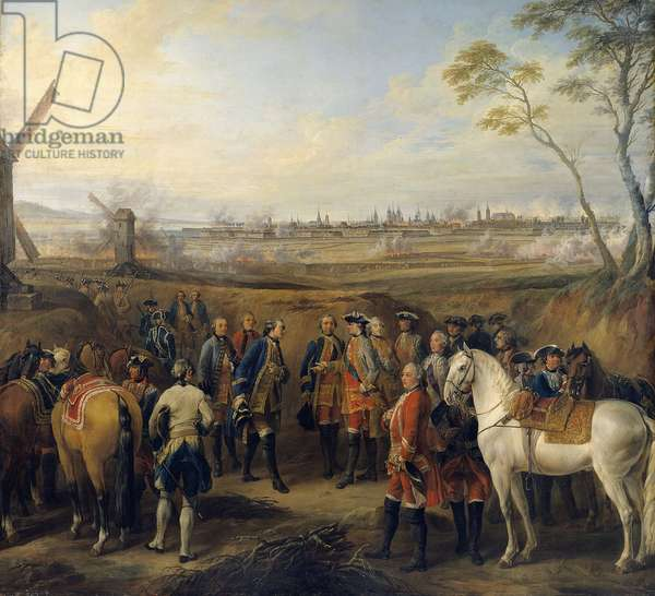 Siege of Tournai, 14/05/1745 King Louis XV (1740-1774) is accompanied by the Dauphin and Marc-Pierre Count of Argenson. Detail of a painting by Pierre Lenfant (1704-1787) Sun. 2,7x2,5 m Versailles, Musee du chateau
