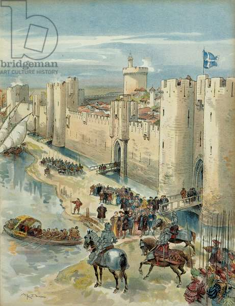Eighth Italian War (1536-1538): interview of Aigues Mortes (or treve of Aigues Mortes) on 14 July 1538, meeting between Francois I (1494-1547), King of France and Charles V (1500-1558), King of Spain and Emperor of the Holy Roman Empire Germanic. Illustration, 1909, by Albert Robida (1848-1926). Particuliere collection.