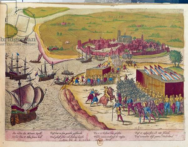 Capture of the fort of Brielle in 1572 Hollande. Engraving of the 17th century B.N. Paris