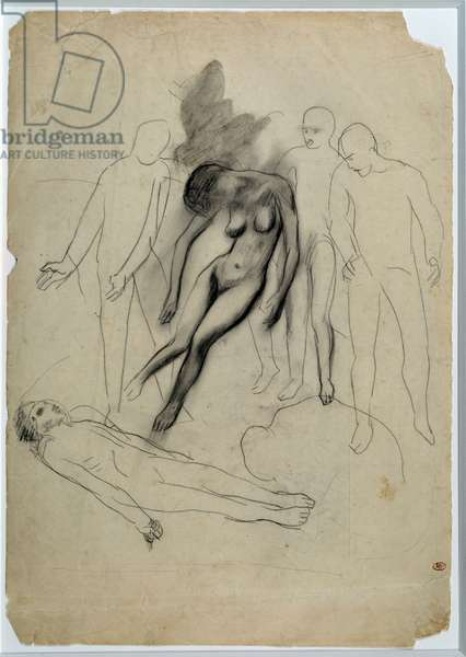 "Study for ""Evocation"". Drawing by Pablo Picasso (1881-1973), 1901. Black pencil. Dim: 0,41 x 0,29m. Paris, Musee Picasso."