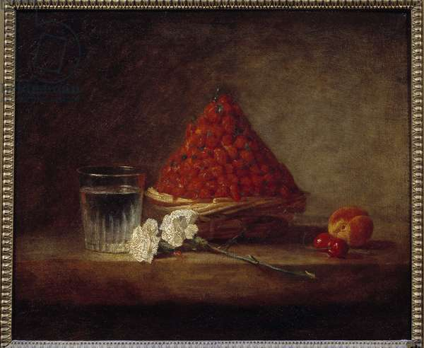 Basket of wild strawberries Painting by Jean Baptiste Simeon Chardin (1699-1779) 18th century Private collection - Basket of wild strawberries. Painting by Jean Baptiste Simeon Chardin (1699-1779), 18th century. Private Collection