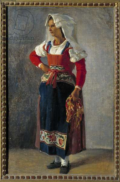 Portrait of a peasant near Rome Painting by Achille Michallon (1796-1822) 19th century Sun. 0,36x0,25 m