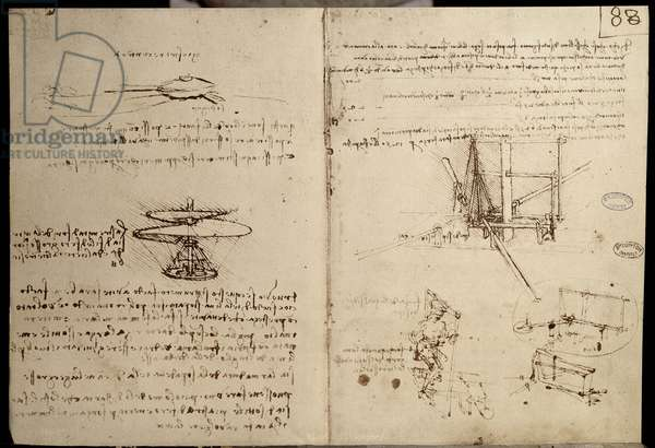 Science and techniques: manuscript on flying machines with a representation on the left of the aerial screw, ancestor of the helicopter - Notebook by Leonardo da Vinci (1452-1519), Around 1487 - Paris, Bibliotheque of the Institut de France — Flying machines, one of first drawings of a helicopter-like flying machine - Manuscript by Leonardo da Vinci (1452-1519), pen and ink on paper, c. 1487 - Bibliotheque of the Institut de France, Paris