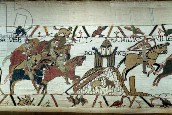 The conquete of Brittany by the Duke of Normandy William the Conquerant (1027-1087): the capture of Rennes Detail of the tapestry of Bayeux or Embroidery of Queen Mathilde, 1077 (70,34x050 m). Library of Bayeux. Bayeux, Calvados