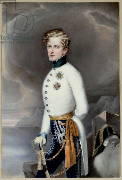 King of Rome and Prince of Parma Napoleon II, Duke of Reichstadt (1811-1832) son of Emperor Napoleon I (1769-1821) in uniform as lieutenant colonel of the Regiment Gustave Prince of Wasa Engraving by Leopold Bucher (1797-1858) 1832 Dim. 0,33x0,22 m Malmaison, museum of the castle