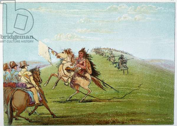 Indians of America: Indians commanded against the army. Illustration by George Catlin (1794-1872), 19th century. Paris, B N