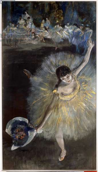 Fin d'arabesque Painting a essence taken from the pastel by Edgar Degas (1834-1917) 1877 Sun. 0,67x0,38 m Paris, musee d'Orsay
