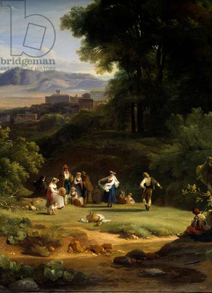 Landscape inspires from the view of Frascati. Painting by Achille Michallon (1796-1822), 1822. Paris, Musee Du Louvre