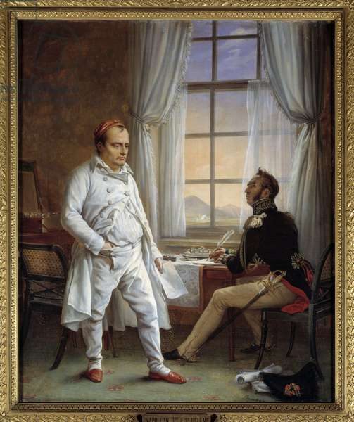Napoleon I dictating his memorials to General Gourgaud (Painting, 19th century)