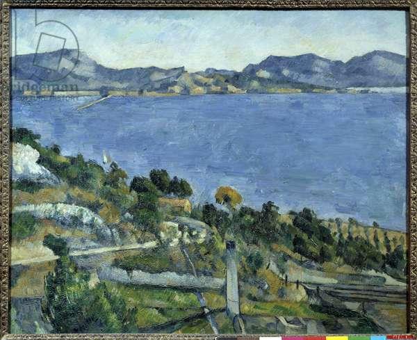 L'Estaque vue du gulf de Marseille Painting by Paul Cezanne (1839-1906) 1878 Sun. 0,59 x 0,73 m Paris, musee d'Orsay - The Gulf of Marseille seen from L'Estaque. Painting by Paul Cezanne (1839-1906), 1878. 0.59 x 0.73 m. Orsay Museum, Paris