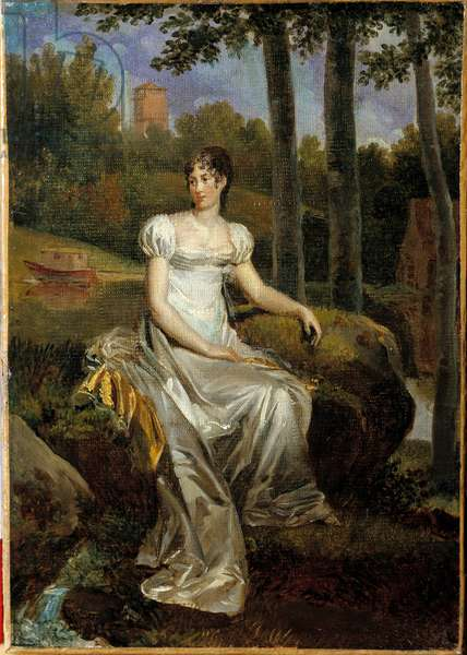 Portrait of Desiree Clary (1777-1860) wife of Bernadotte, Queen of Sweden, represented Princess of Monte Corvo in the park of the castle of Bellevue. Painting by Francois Gerard (1770-1837), 1810. Oil on canvas. Dim: 0,32 x 0,23m.